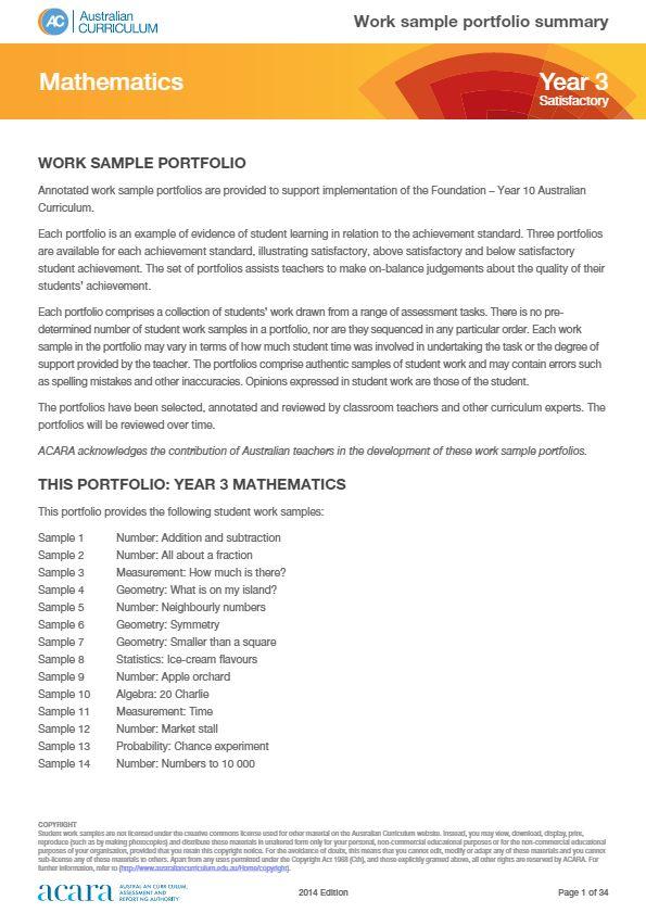 Year 3 Mathematics work sample portfolio - satisfactory
