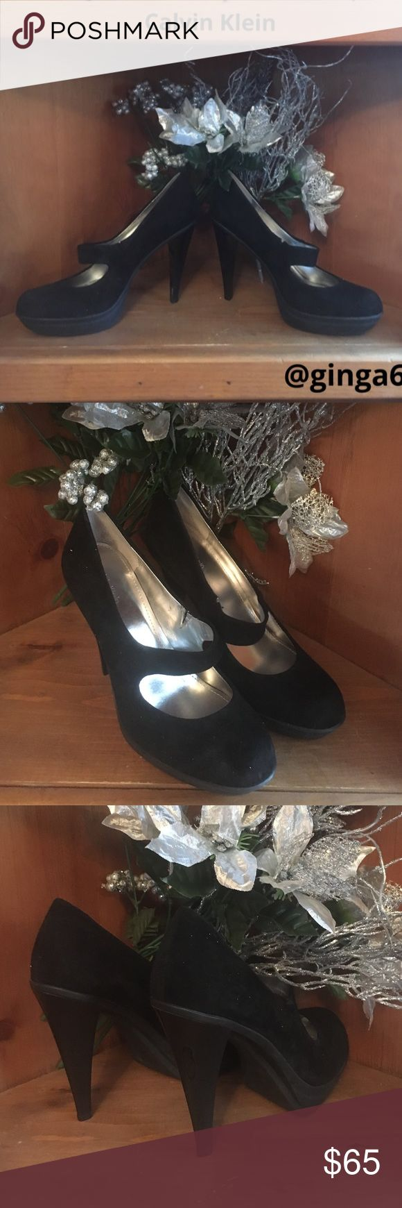 Calvin Klein suede black sexy pump💋 Calvin Klein 4.5 inch black suede heels👠 Classic chic & sexy. Worn one time in great condition , no scuffing or wear , grab THEESE for the holidays💄👠 Calvin Klein Shoes Heels
