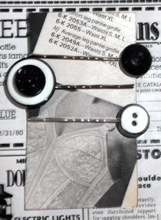 Recycled Vintage Button Hair Accessory Bobby Pin by thineintime, $5.50