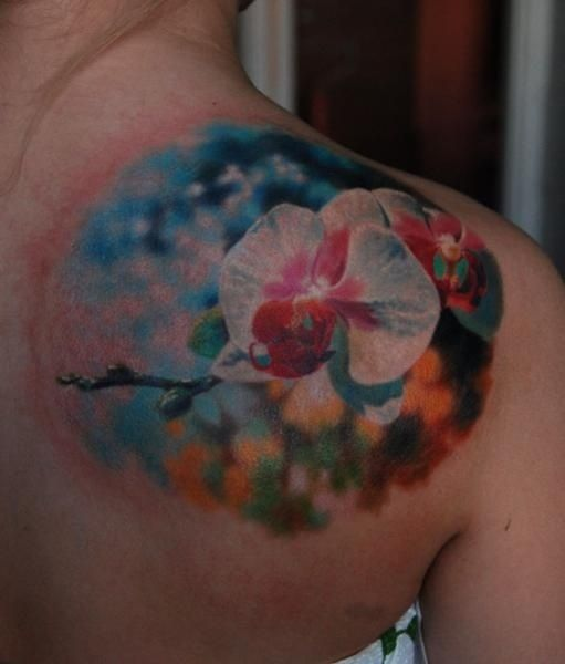 colorful flower tattoos for women | Abstract Flower Tattoo