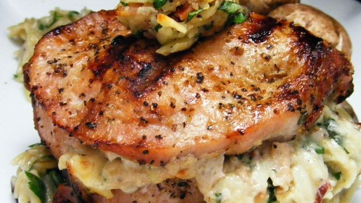 Grilled Pork Chops Stuffed with Smoked Gouda and Bacon