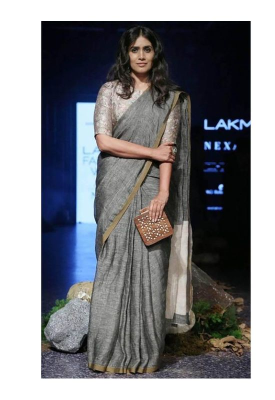 44968a23ee645 Pure Linen Saree in Grey Color with Zari in 2019