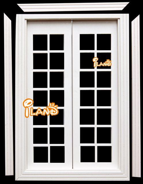 Iland 1:12 Кукольный Миниатюрный Дерево Французский Наружные Двери Со Стеклом Отделка OA011E