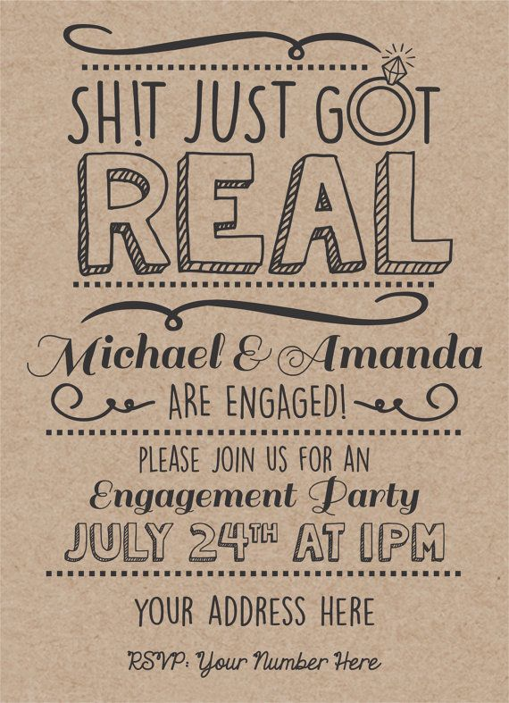 Engagement Invitation Funny Card DIY PDF by PartyPlusDesign Sh!t just got real! so cute and funny engagement card! So awesome can send in information and get a custom pdf send to you with all your information! Perfect engagement announcement or invitation!