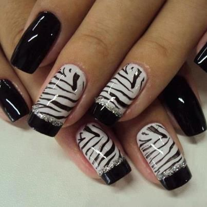 zebra stripe accent nails with black tips & silver glitter detail