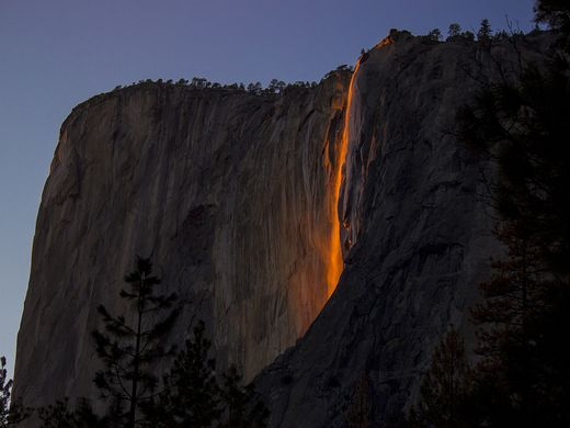 For a short time in February - if the conditions are perfect - Horsetail Fall at Yosemite National Park in California looks like lava falling down the side of El Capitan