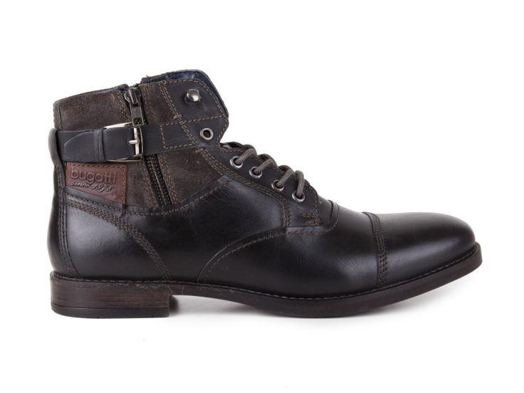 Bugatti - Pánské zimní kožené boty Genevo U5437-4W / černá | obujsi.cz - dámská, pánská, dětská obuv a boty online, kabelky, módní doplňky
