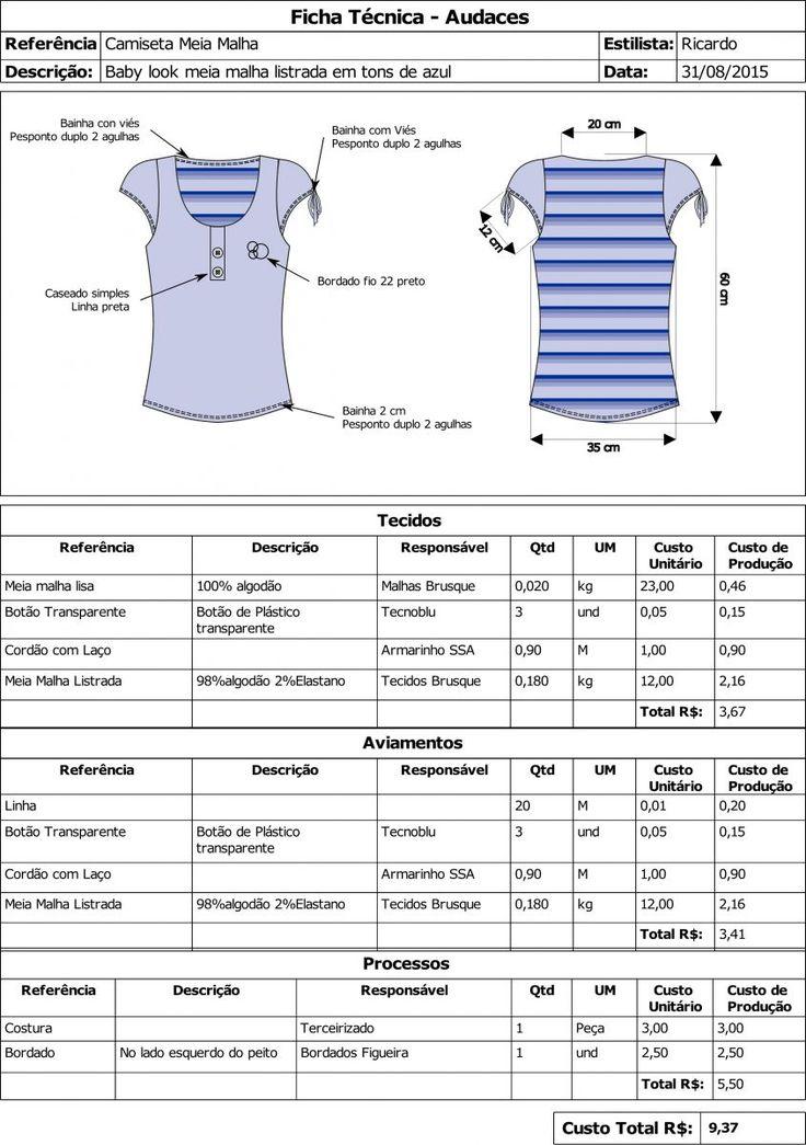 11 pontos que precisam ser colocados em uma ficha técnica de vestuário - Industria Textil e do Vestuário - Textile Industry - Ano VII