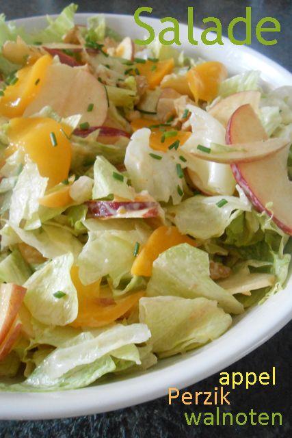 Recept Salade met perzik, walnoten en appel. Heerlijk !!!!