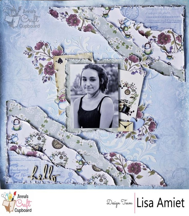 "Today, Lisa Amiet is showcasing Couture Creations ""Enchanted Tea Party"" collection... Lisa's beautiful layout features eye-catching layering and use of the ephemera pieces.. ♥  You can see all the gorgeous details over on Anna's blog"