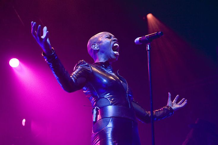 Skin (Deborah Anne Dyer), singer, Skunk Anansie. Black British. Skunk Anansie was named Best New British Band by readers of Kerrang! magazin...