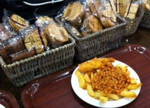 chicken goujons, beans and chips