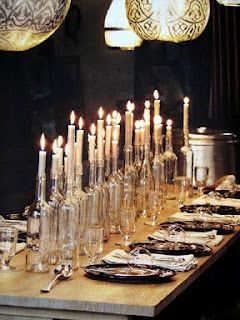 "Candles in wine bottles!  from the blog ""Natural Beauty"""