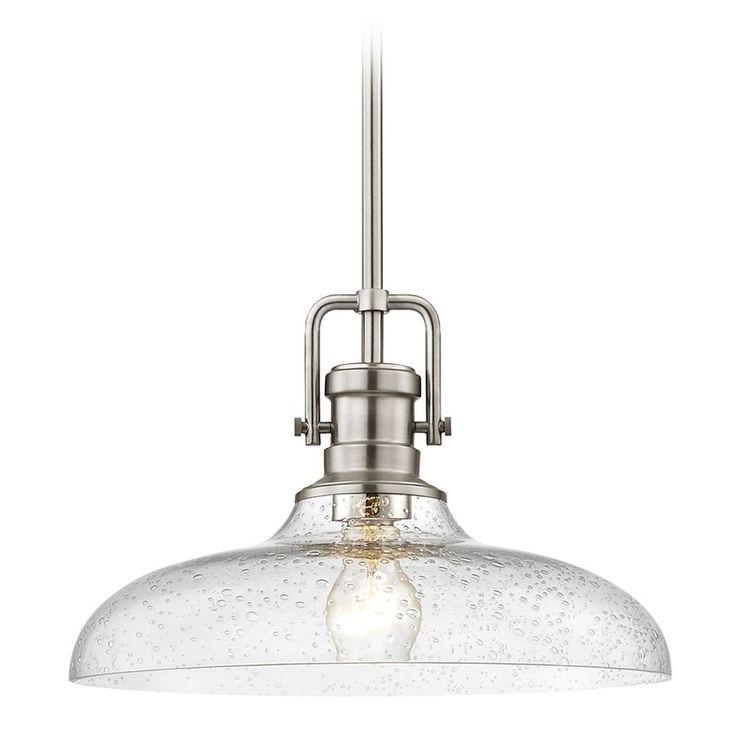 Design Classics Lighting Seeded Glass Pendant Light Satin Nickel Finish 14-Inch Wide 1763-09 G1784-CS