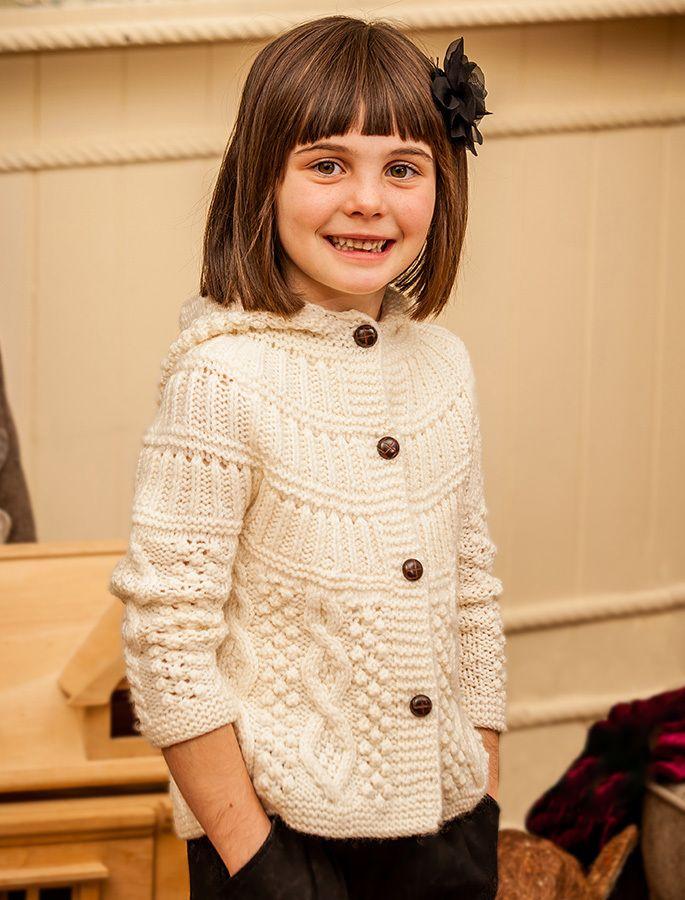 kids handknit hooded cardigan, white cardigan for kids | Aran Sweater Market