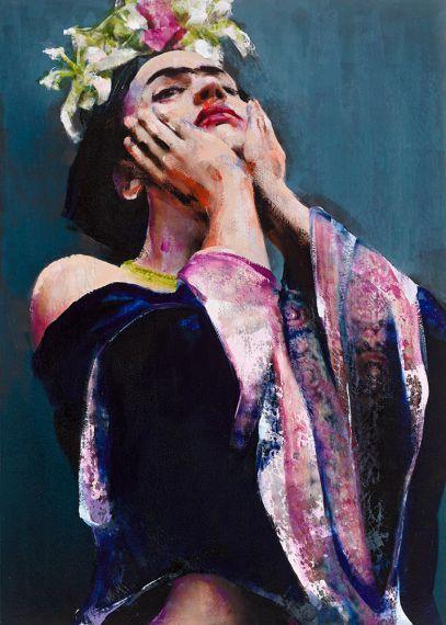 "Lita Cabellut, Barcelona (1961). Contemporary painter with a unique pictorial language. ""Frida 29"" 280x200cm, mixed media (2010)."