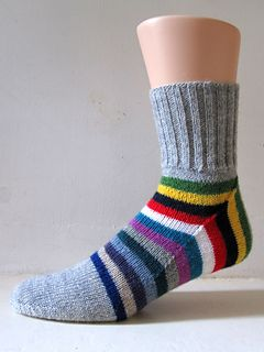 Squircle socks by General Hogbuffer. This is a deceptively simple way of constructing a sock by reducing the flap to a very small strip and working an extended gusset in its place. The pattern in free on Ravelry.
