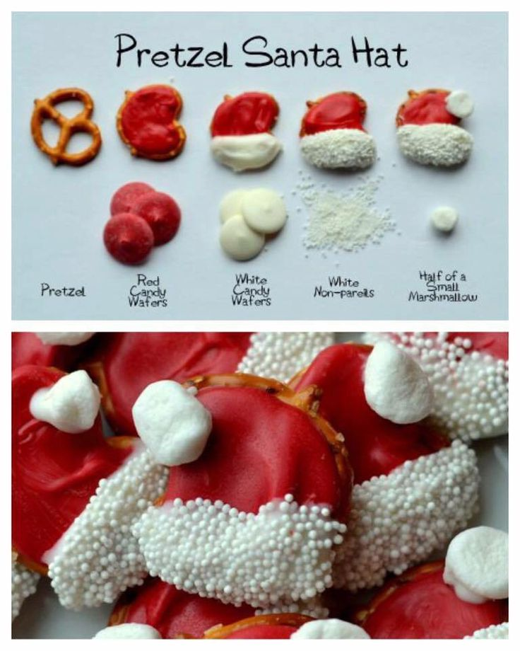 Chocolate covered pretzel  Santa hats
