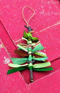 Got extra ribbon? Use your scraps! These Ribbon Tree Homemade Christmas Ornaments can be made in a matter of minutes, and they're just too cute! | AllFreeKidsCrafts.com