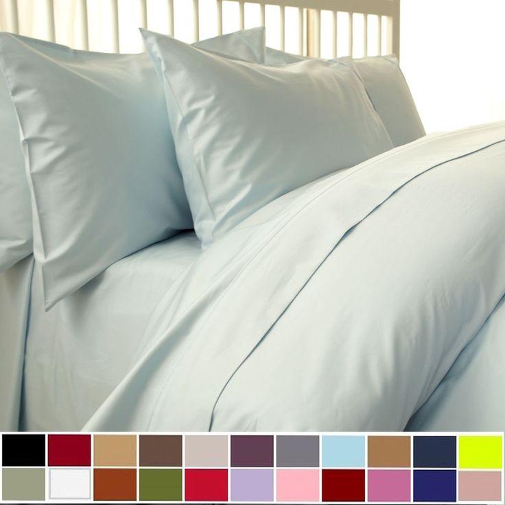 1500 TC 3 Piece Duvet Cover Set Solid 100% Egyptian Cotton All Sizes- 21 Colors! #Scala