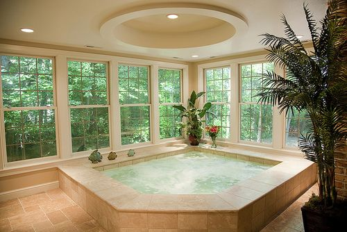 I love this idea! The tub, windows, outside backround...everything!