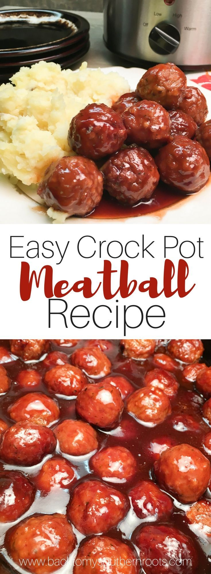 Easy Crock Pot Meatball Recipe is made up of frozen meatballs, barbecue and grape jelly. The dish makes a great dinner or an appetizer for church or a party, and is easy to make. #easy #recipe #crockpot #meatballs #grapejelly #barbecue #holiday #party
