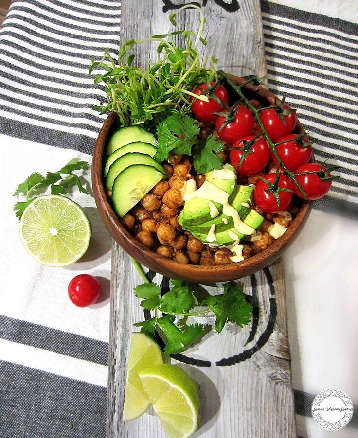 ENJOY  YOUR WEEKEND EVERYONE   Mini Buddha Bowl with Smoky Chili Garbanzo and Tahini Dressing for lunch   #vegan #plantbased #lunch #buddhabowl #garbanzo #weekend #food #instantfood #delicious #nutritious #nongmo #organic #crueltyfree #wholefood #worldwideveganfood