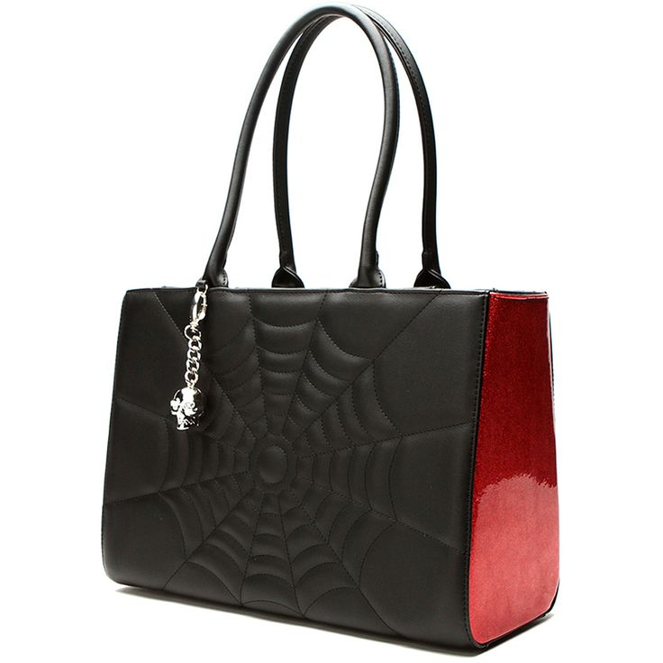 Hell's Boutique - Elvira Lucky Me Tote Bag Black Matte/Red Sparkle Spiderweb Skull Psychobilly Mistress of the Dark Horror HellsBoutique.com