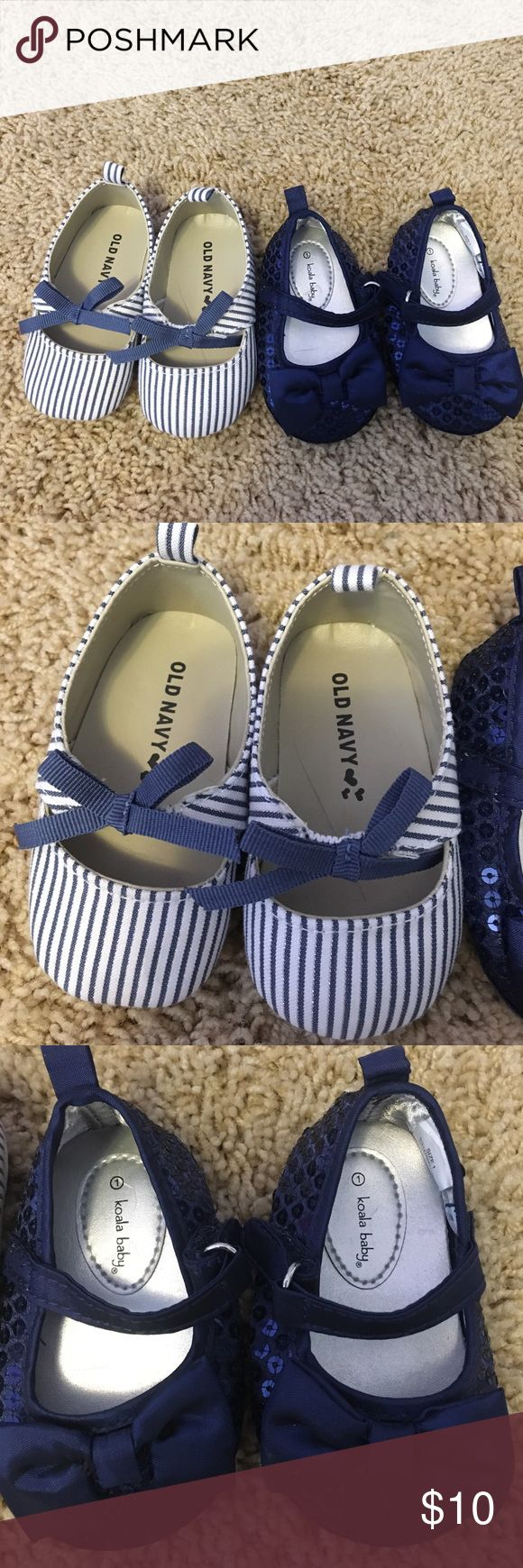 Navy Blue Baby Shoes Two pairs of navy blue baby girl shoes size 1. Shoes