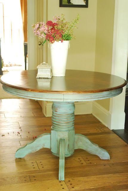kitchen table make over - dk walnut stain on top and distressed provence paint on the bottom