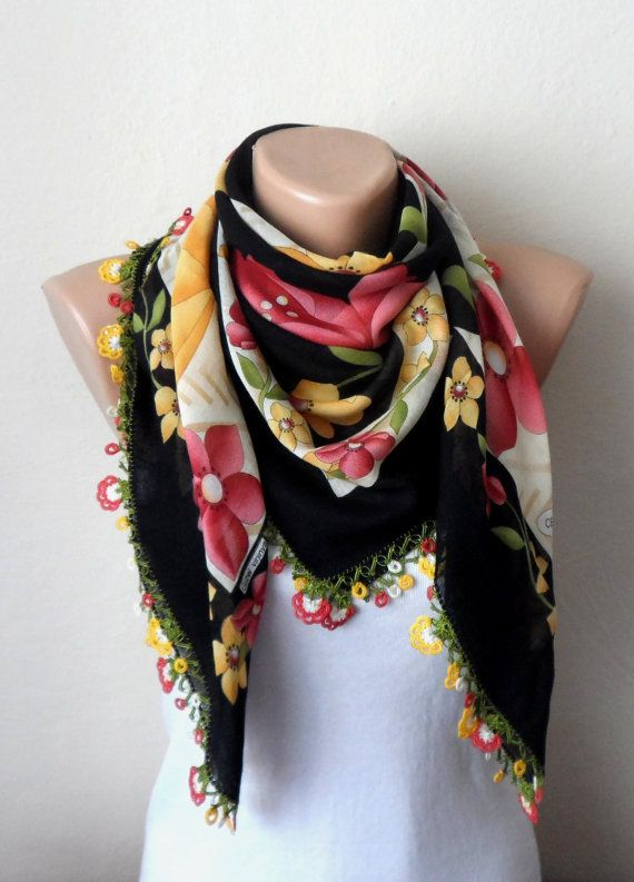 black scarf yellow flower green white pink  cotton by DamlaScarf