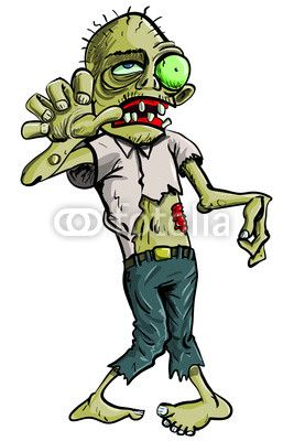 Cartoon Zombie grasping forward, isolated on white