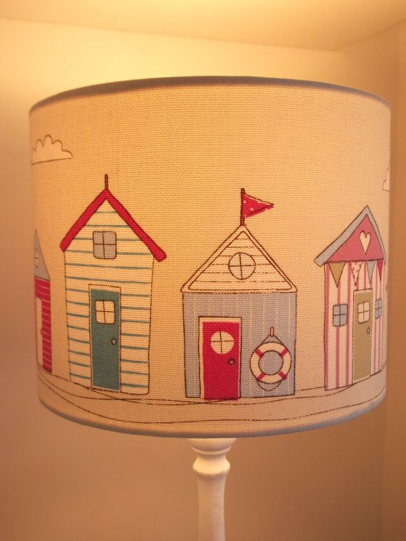 Small Beach Huts Fabric Lampshade by MakeHayDesign on Etsy, £20.00