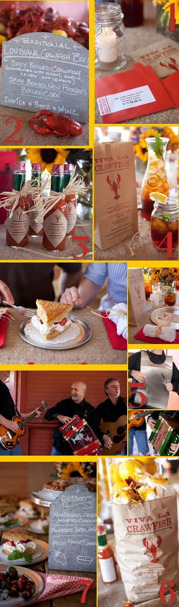 Create an authentic Louisiana crawfish boil, where no detail is left undone, from the crawfish-themed invites and favors, to luscious desserts and ice-cold beverages