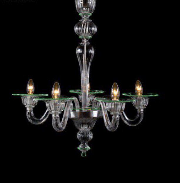 Lampadario in vetro soffiato di Murano, design moderno , con 5 luci, colore verde e trasparente , by Muranospareparts, 550,00 € su misshobby.com