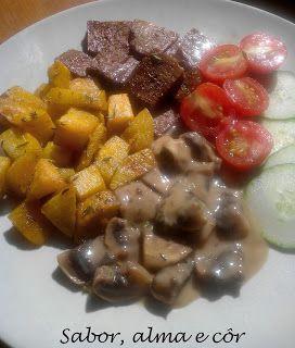 sabor, alma e côr: Seitan com cogumelos em natas de arroz e batatas d...