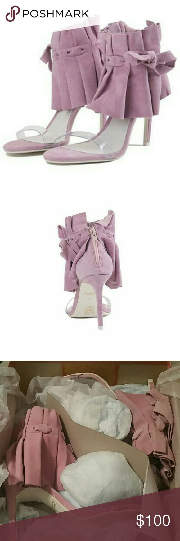 New! Jeffrey Campbell Manguito Lilac Suede Heels New! Jeffrey Campbell Manguito Lilac Suede Heels   Jeffrey Campbell for Women: Manguito Lilac Suede Heels - Suede. 3 inch heel. Back zipper. Clear plastic toe strap.   Sz. 6  Pink/Purple Lilac color Jeffrey Campbell Shoes Heels