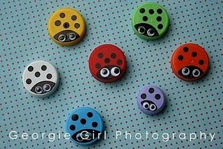 Bottle cap ladybugs. Use leaves, sticks, etc. other natural items, find ladybugs and put them in matching colored containers.