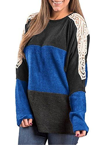 45067bd6617ff Zeagoo Women s Lace Hollow Color Block Casual Tunic Top Loose Pullover  Sweatshirts Blouse