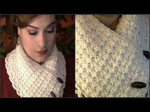 DIY Cómo hacer bufanda cerrada o cuello de lana a punto bobo - YouTube