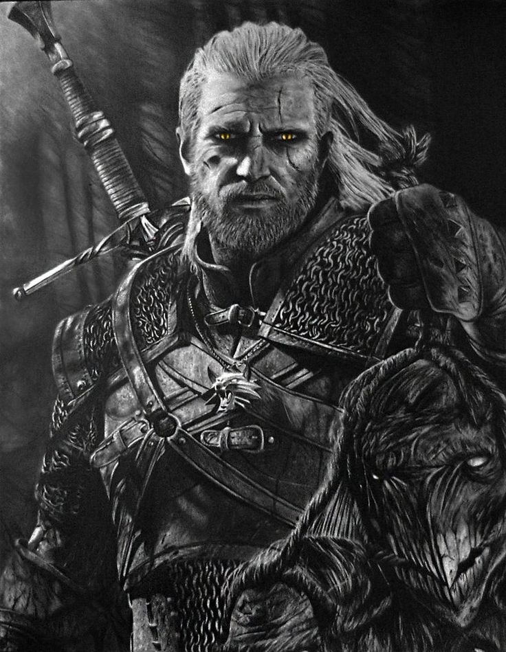 f4b6824e92063ea21223f9eb19c528a7 pencil portrait the witcher geralt jpg