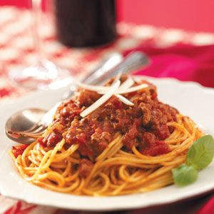 Stamp-of-Approval Spaghetti Sauce Recipe from Taste of Home -- shared by Melissa Taylor of Higley, Arizona