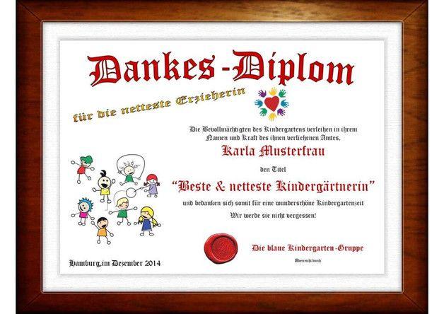 Weiteres - Dankes -Diplom für die netteste Erzieherin - ein Designerstück von LangstrumpfDesign bei DaWanda