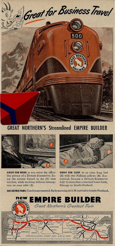 great northern railroad 1948 great for business #travel-the empire builder ad from $4.99