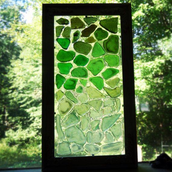 Hand Made Beach Glass Mosaic Suncatcher in White Frame ...