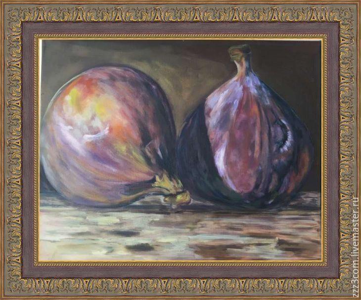 Купить Инжир - комбинированный, натюрморт, Живопись, подарок, арт, инжир, фрукты, холст на подрамнике, масло