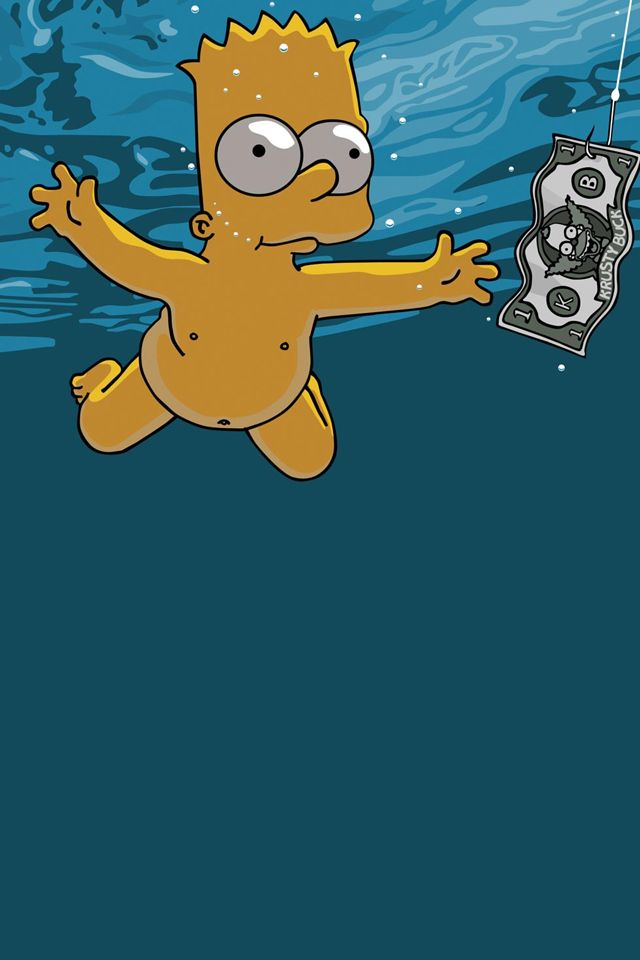 ↑↑TAP AND GET THE FREE APP! Simpsons Bart Water Fun Dollar Cartoon TV Show Parody Nirvana Nevermind HD iPhone 4 Wallpaper