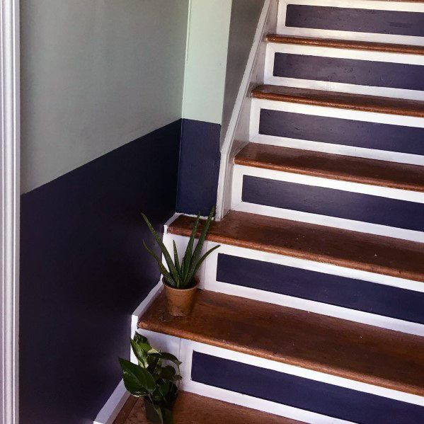 Wooden Stairs With Painted Stripes Updating Interior: Top 70 Best Painted Stairs Ideas