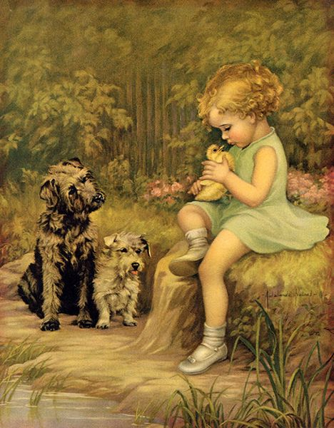 Adelaide Hiebel (1886 – 1968) Love the little girl, duck, and doggies!