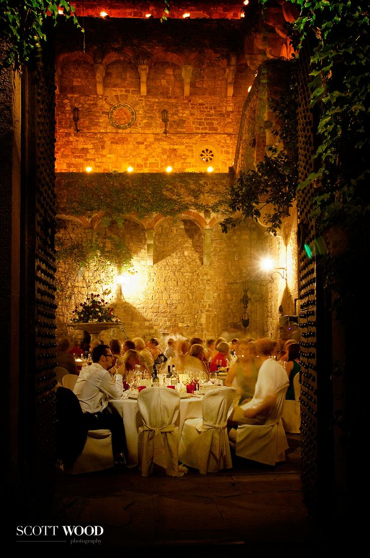 Dining under the stars at Castello di Vincigliata. Destination Wedding Photography. Image by Kevin at Scott-Wood Photography